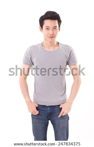portrait of asian man, white isolated background, front view - stock photo
