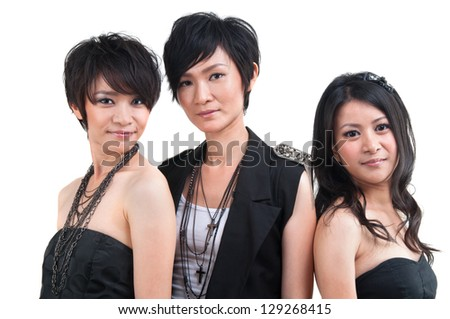 Portrait of Asian pop girls isolated on white background - stock photo