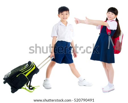 Portrait of asian primary students