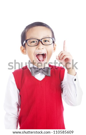 Portrait of asian schoolboy raising his hand to convey his idea - isolated on white - stock photo