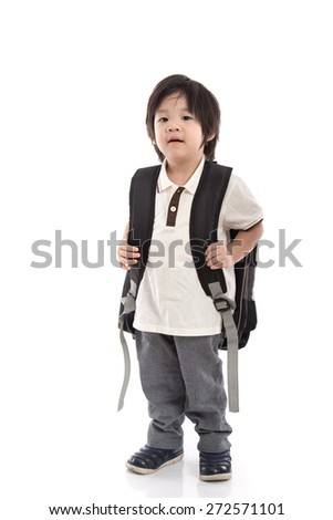Portrait of Asian schoolboy with backpack walking isolated on white - stock photo