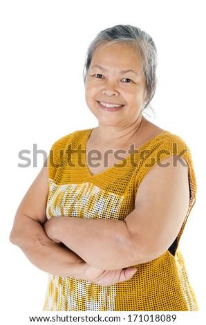 portrait of  Asian senior smile woman isolate on white background .  - stock photo