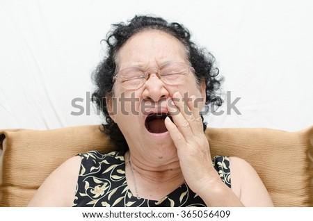 Portrait of asian senior woman sleeping - stock photo