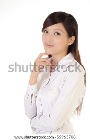 Portrait of Asian smart business woman on white background. - stock photo