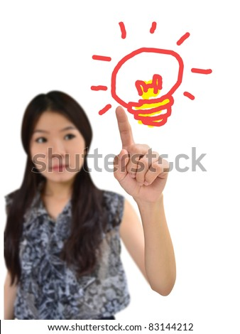 Portrait of asian woman drawing light bulb of idea on white background - stock photo