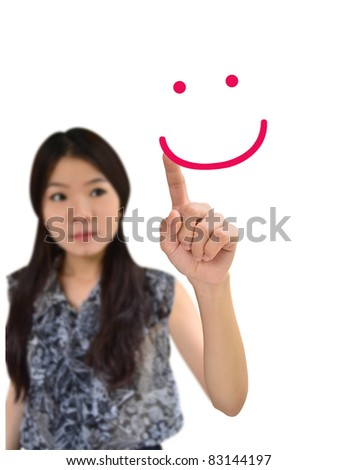 Portrait of asian woman drawing smile face on white background - stock photo