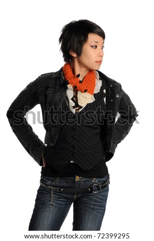 Portrait of Asian woman in casual clothing isolated over white background - stock photo