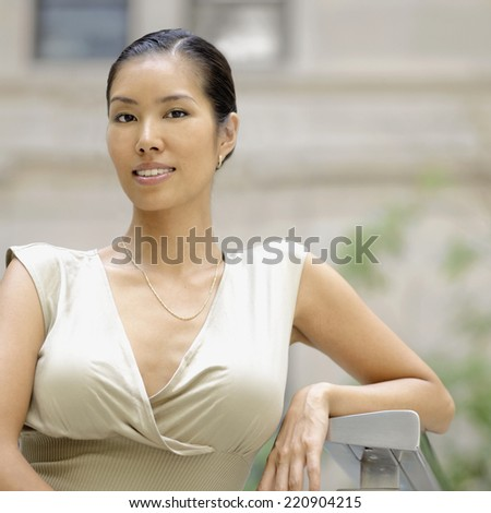 Portrait of Asian woman outdoors