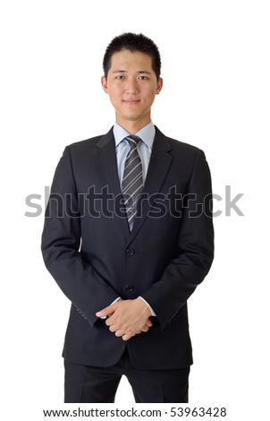 Portrait of Asian young business man on white background. - stock photo