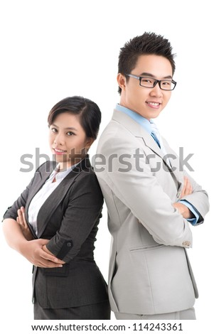 Portrait of assertive colleagues isolated on white - stock photo
