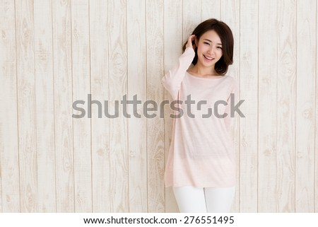 portrait of attractive asian woman - stock photo