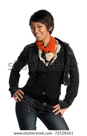 Portrait of attractive Asian woman smiling isolated over white background - stock photo
