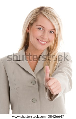 Portrait of attractive blond businesswoman giving thumbs up isolated on white background - stock photo