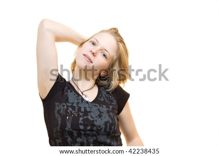 portrait of attractive blond girl - stock photo