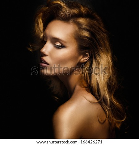 Portrait of attractive blonde woman with closed eyes. - stock photo