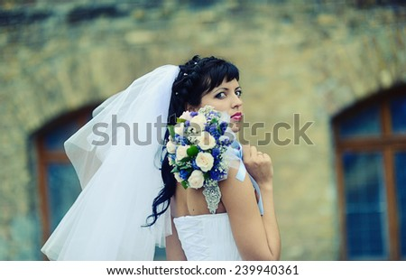 Portrait of attractive bride - stock photo