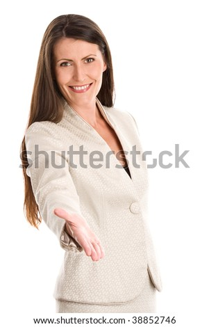 Portrait of attractive businesswoman offering hand for handshake isolated on white background