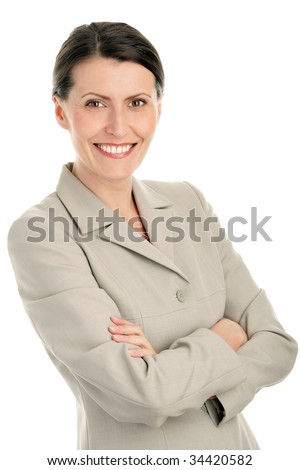 Portrait of attractive businesswoman with arms crossed isolated on white background