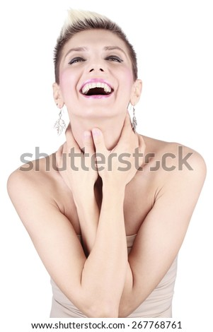 portrait of attractive caucasian girl with short hair  - stock photo