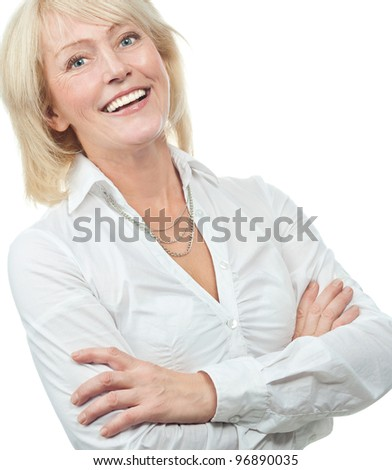 portrait of attractive  caucasian smiling old woman isolated on white studio shot looking at camera