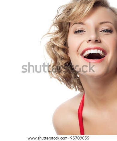 portrait of attractive  caucasian smiling woman blond isolated on white studio shot - stock photo