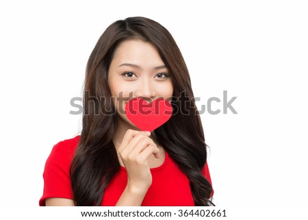portrait of attractive caucasian smiling woman blond isolated on white studio shot in red dress with heart - stock photo