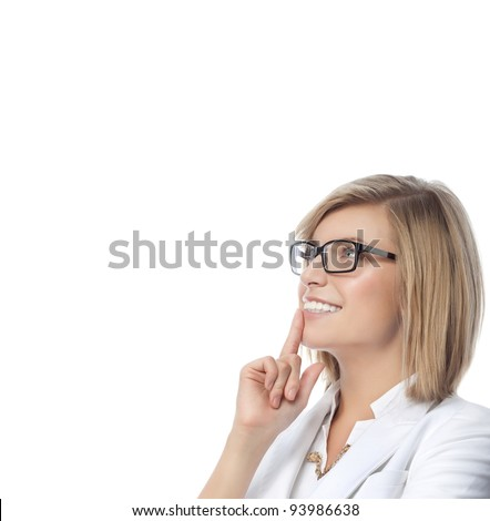 portrait of attractive  caucasian smiling woman blond isolated on white studio shot in white suit - stock photo
