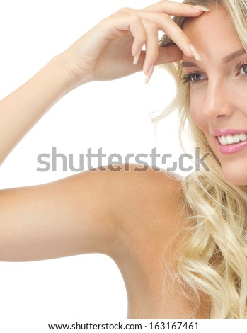 portrait of attractive  caucasian smiling woman blond isolated on white studio shot  lips toothy smile face long hair head and shoulders armpit underarm axillary space - stock photo