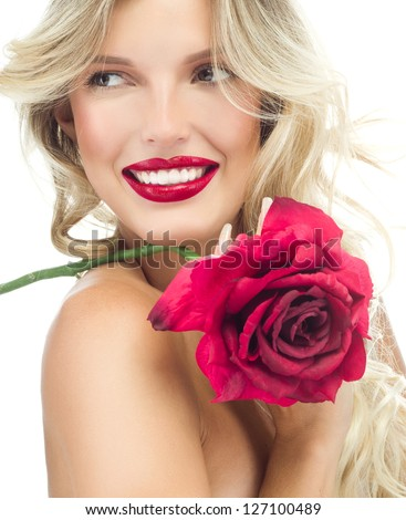 portrait of attractive  caucasian smiling woman blond isolated on white studio shot red rose lips toothy smile face long hair head and shoulders - stock photo