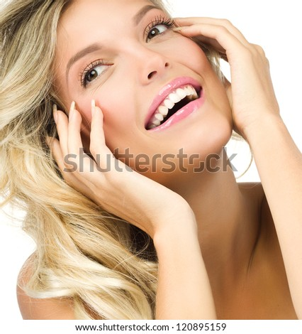 portrait of attractive  caucasian smiling woman blond isolated on white studio shot  toothy smile face long hair blond head and shoulders hands nails
