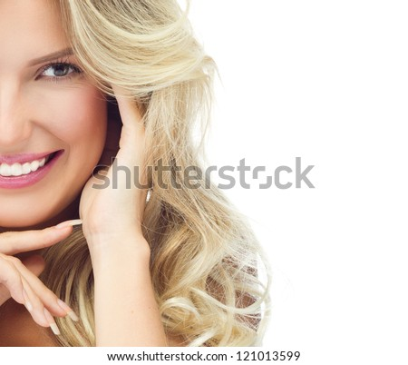 portrait of attractive  caucasian smiling woman blond isolated on white studio shot toothy smile face long hair head and shoulders looking at camera