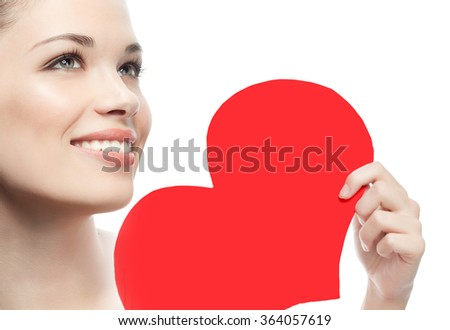 portrait of attractive caucasian smiling woman brunette isolated on white studio shot face skin red heart valentine's love - stock photo