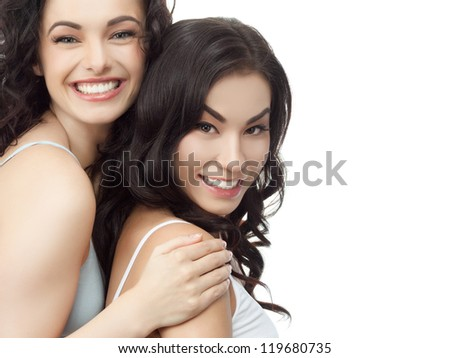 portrait of attractive  caucasian smiling woman brunette isolated on white studio shot head and shoulders face skin hand hair looking at camera - stock photo