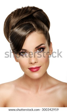 Portrait of attractive caucasian smiling woman brunette with hairstyle isolated on white, studio shot