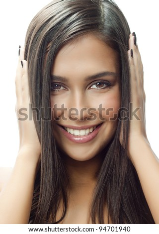 portrait of attractive  caucasian smiling woman isolated on white studio shot brunette with long hair - stock photo