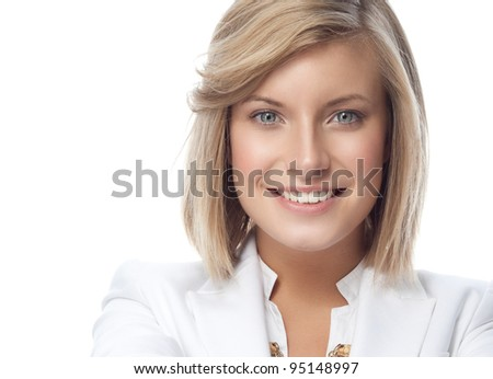 portrait of attractive  caucasian smiling woman isolated on white studio shot looking at camera - stock photo