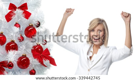 portrait of attractive  caucasian smiling woman isolated on white studio shot looking at camera new year christmas tree balls - stock photo