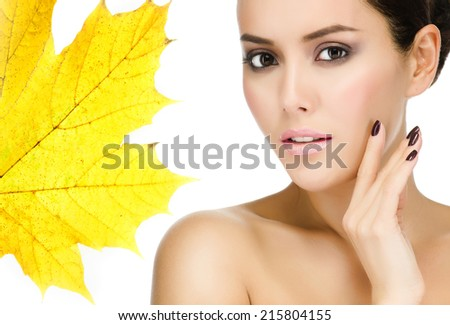 portrait of attractive  caucasian  woman brunette isolated on white - stock photo