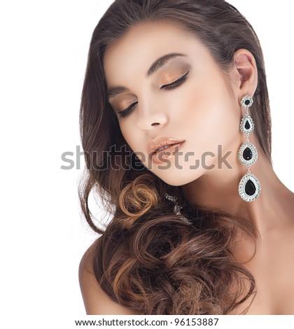 portrait of attractive  caucasian woman brunette isolated on white studio shot - stock photo
