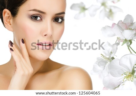 portrait of attractive  caucasian  woman brunette isolated on white studio shot face closeup flowers - stock photo