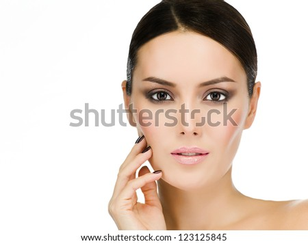 portrait of attractive  caucasian  woman brunette isolated on white studio shot face closeup skin eyes looking at camera - stock photo