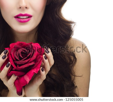 portrait of attractive  caucasian  woman brunette isolated on white studio shot red rose flower - stock photo
