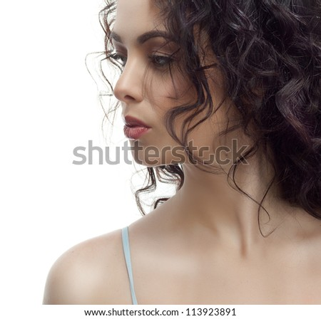 portrait of attractive  caucasian  woman brunette isolated on white studio shot skin face hair lips head and shoulders - stock photo