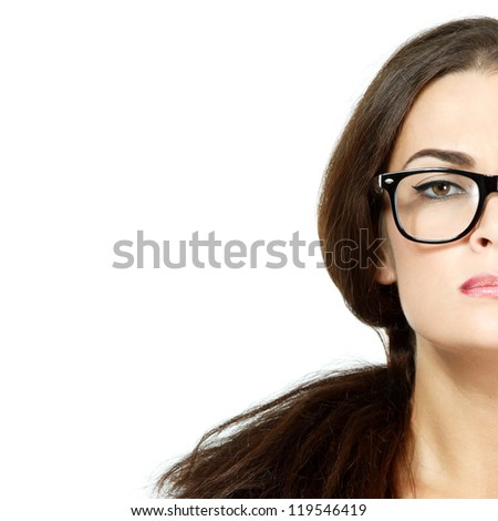 portrait of attractive caucasian woman with glasses, half face over on white, studio - stock photo
