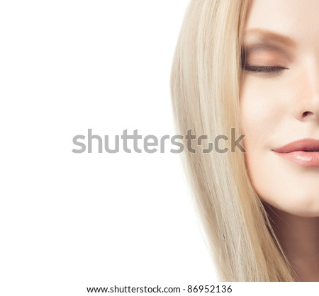 portrait of attractive  caucasian woman  with long blond hair isolated on white studio shot eyes closed