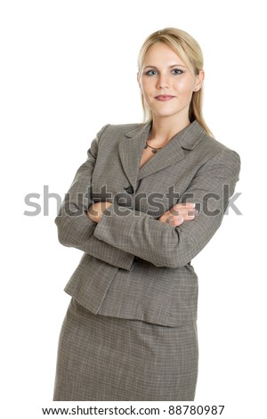 Portrait of attractive confident business woman isolated on a white background