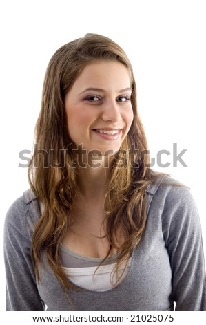 portrait of attractive female on an isolated white background - stock photo