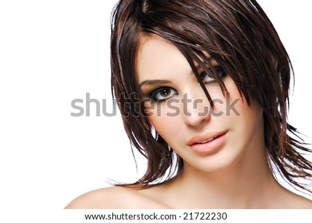 Portrait of attractive female teen with modern  creativity hairstyle - stock photo
