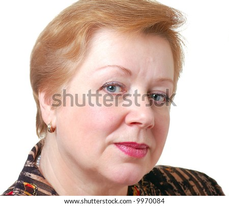 portrait of attractive fifty years woman  with blue eyes