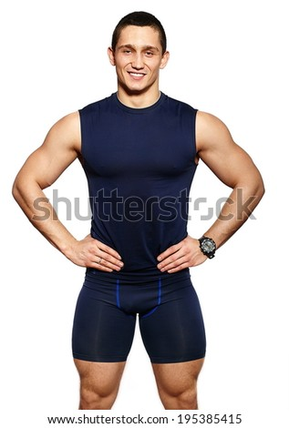 portrait of attractive fitness healthy smiling happy cheerful man in sportswear isolated on white - stock photo